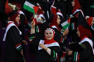 Gaza City Students attend their graduation ceremony at Palestine university at Al-Zahra city