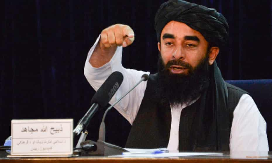 Taliban spokesperson Zabihullah Mujahid speaks during a news conference in Kabul