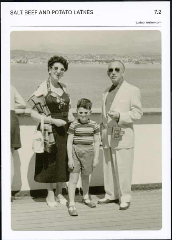 Rick's grandma and grandad with his father, Steven, on a recipe card for salt beef and potato latkes.