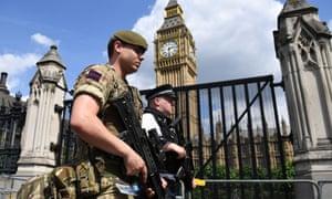 Soldier outside Big Ben
