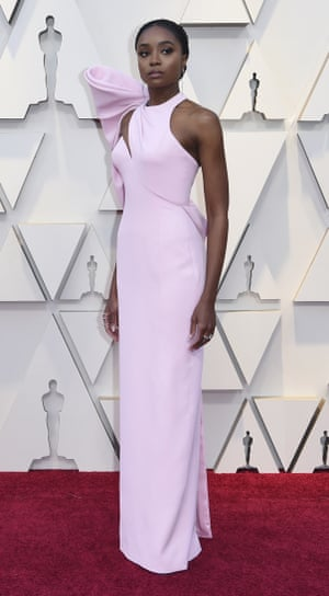 A star of If Beale Street Could Talk, Kiki Layne wore a sugar pink Versace number at the Oscars, following another outing with the label at the Critics' Choice Awards in January. This is a nice take on pink, the colour of the night. The sleeve detail adds proper drama - whatever the angle