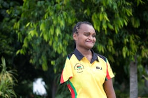 Friana Kwevira from Vanuatu, who won a bronze medal in javelin, the first ever medal for the country