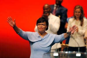 Newly sworn in New Orleans Mayor Latoya Cantrell acknowledges the crowd at her inauguration in New Orleans, Monday, May 7, 2018. She is the first woman to hold the job of New Orleans' mayor since the city was founded 300 years ago.