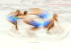 A multiple exposure picture of Bradie Tennell of the USA in action during the Women Single Free Skating of the Figure Skating competition.