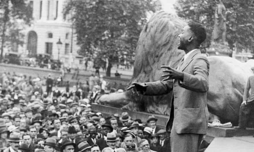 CLR James speaking in Trafalgar Square, London, in 1935.