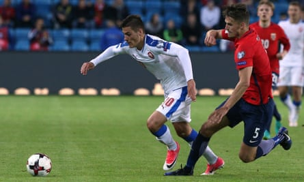 Patrik Schick in action for the Czech Republic senior side against Norway.