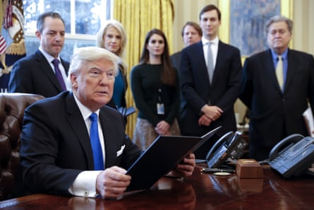 Donald Trump and his staff