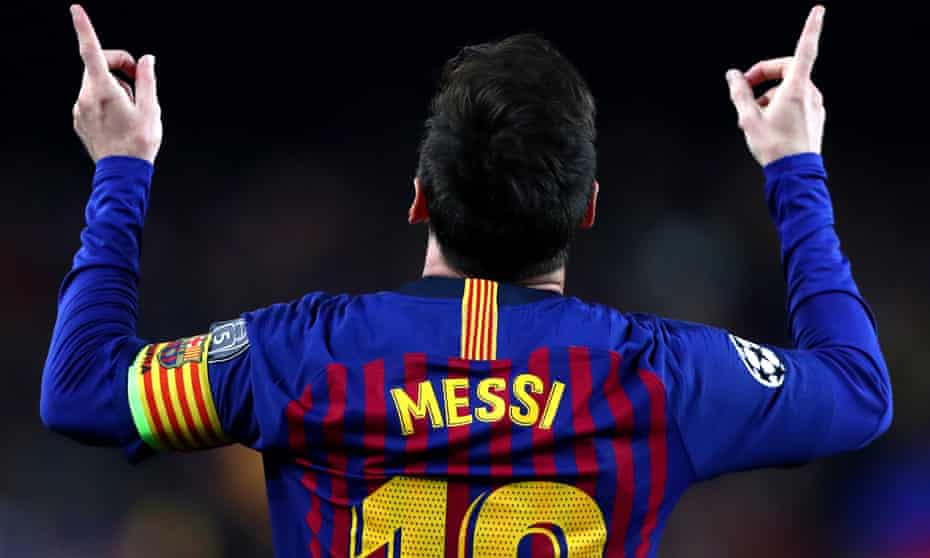 Lionel Messi celebrates his second goal at the Camp Nou on Tuesday