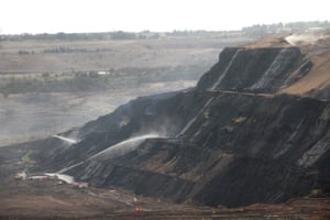 Firefighters battle a blaze at the Hazelwood open-cut coalmine in Victoria in March 2014.