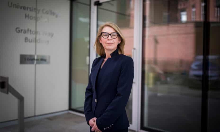 Prof Marie Scully outside University College London hospital