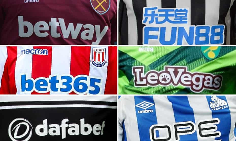 Clockwise from top left: West Ham, Newcastle, Norwich, Huddersfield, Fulham and Stoke are among the 26 teams in the top two divisions sponsored by gambling firms.