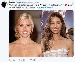 Jessica Biel's 10-year challenge on Twitter.
