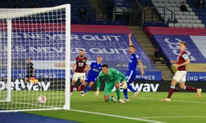 Burnley's Nick Pope watches as the deflection off Erik Pieters puts Leicester 2-1 ahead