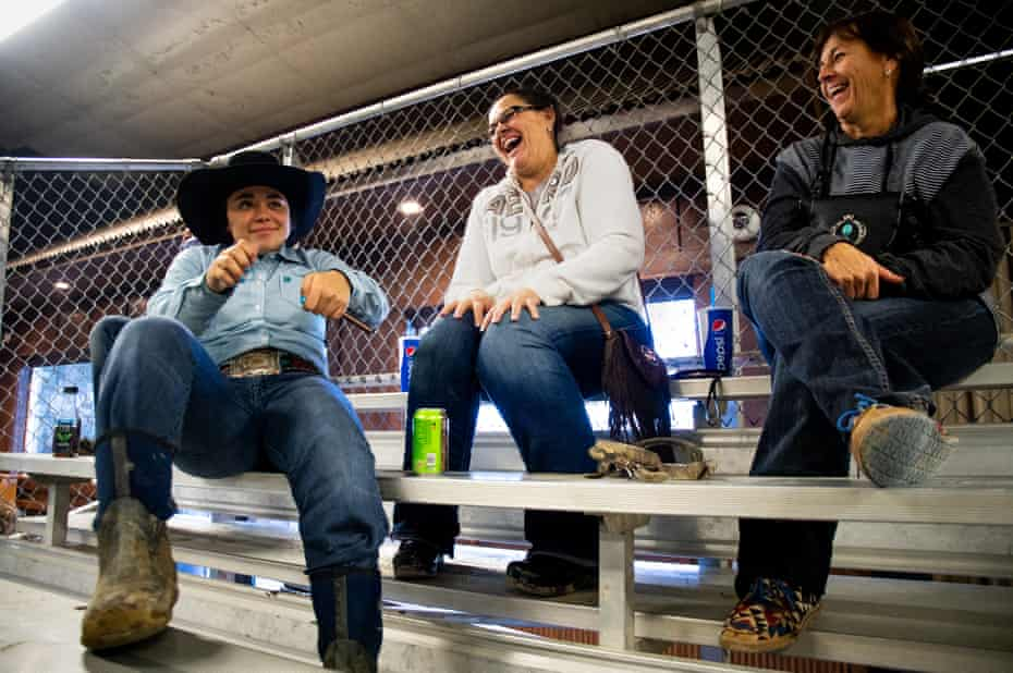 Simonson jokes around with her aunt, Billie Jo, and her mother, Judy, while waiting for her brother's run at the Copper Springs Ranch barrel race.