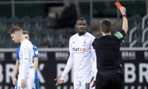 Borussia Mönchengladbach's Marcus Thuram has apologised for spitting. His action led to this red card against Hoffenheim.