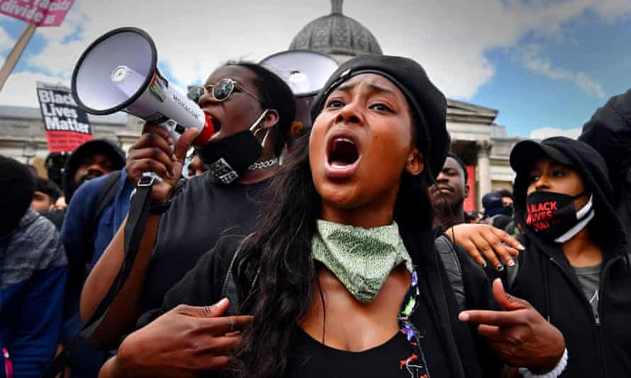 Sasha Johnson at a Black Lives Matter protest in London. Johnson is in a critical condition in hospital after being shot in the head during the early hours of Sunday.