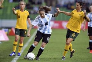 Argentina's Estefania Banini takes on Australia. The 28-year-old captain plays for Levante in Spain.