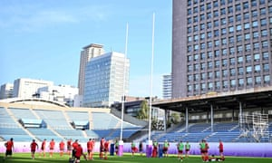 Wales's players take part in a training session at Prince Chichibu Memorial Ground in Tokyo, the headquarters of Japanese rugby.