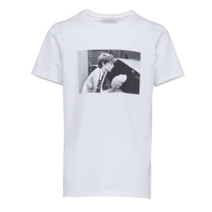 white t-shirt with print of a boy eating candyfloss