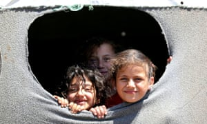 Internally displaced Syrian children at a camp in Quneitra.