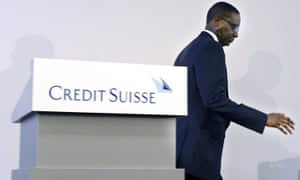 In this Oct. 21, 2015 file photo Tidjane Thiam, CEO of Swiss bank Credit Suisse, leaves the podium during a press conference in Zurich, Switzerland.