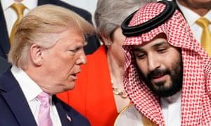 President Donald Trump speaks with Saudi Arabia's Crown Prince Mohammed bin Salman at the G20 leaders summit in Osaka, Japan, last year.