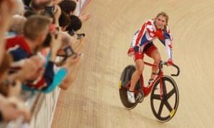 Laura Trott celebrates taking gold in the Women's Omnium.