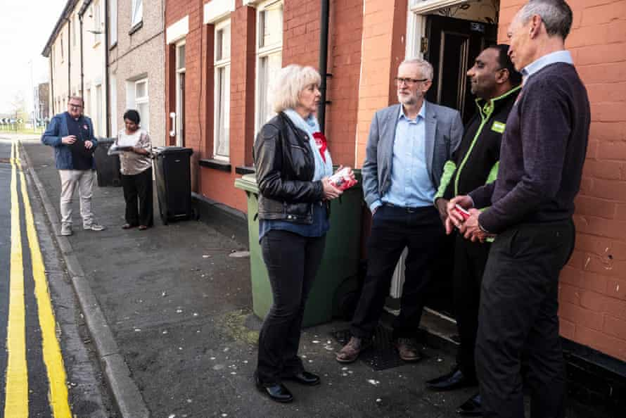 Jeremy Corbyn with local candidate Ruth Jones in Newport, Gwent.