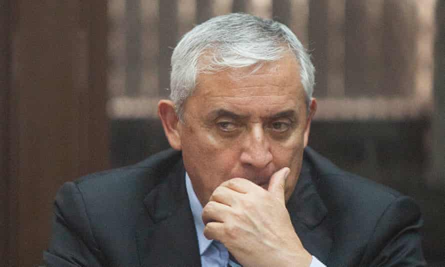 Former Guatemalan president Otto Pérez Molina reacts during a hearing of the trial against him in Guatemala City on Tuesday.