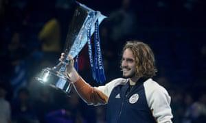 Stefanos Tsitsipas lifts the trophy