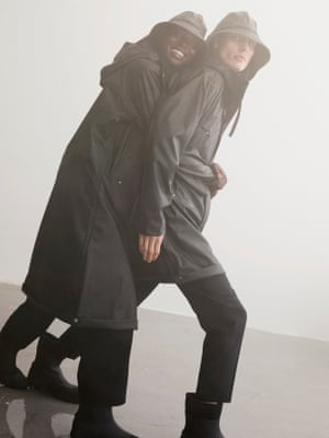 Home and dry Tackle the onset of autumn rain with Arket's new wet weather collection in collaboration with Swedish rainwear experts, Tretorn. Designed for all the family – including a dog rain jacket using industry-leading sustainable technology – this outerwear uses water-based polyurethane with recycled polyester backing, and wellies are made using natural rubber certified by the Forest Stewardship Council. Coat, £135, arket.com