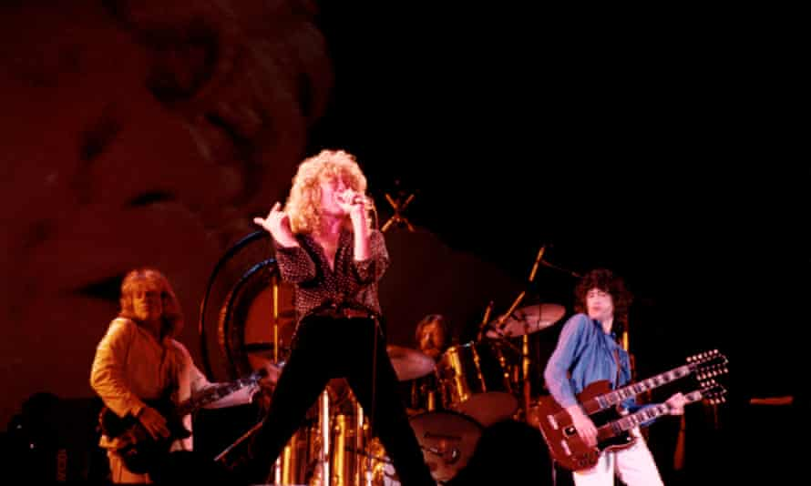Led Zeppelin on stage at Knebworth in 1979
