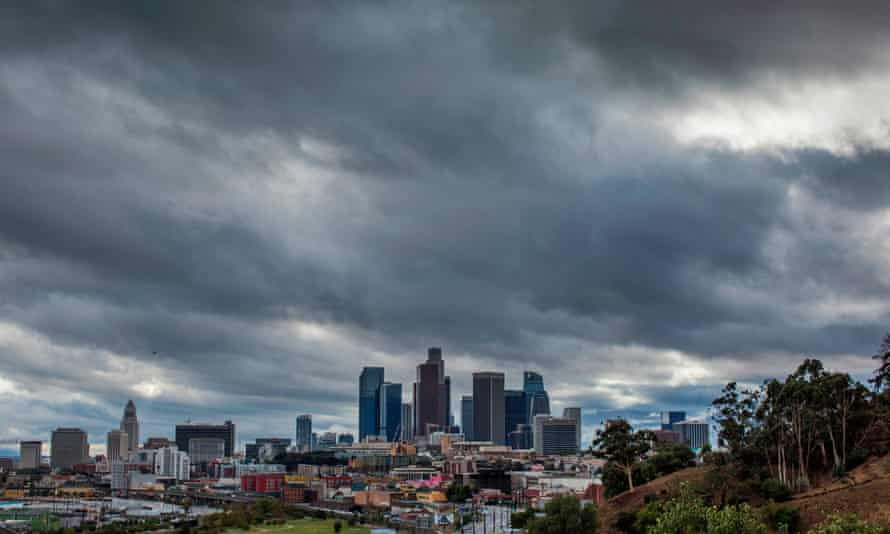 Heavy clouds above downtown Los Angeles on Thanksgiving Day.