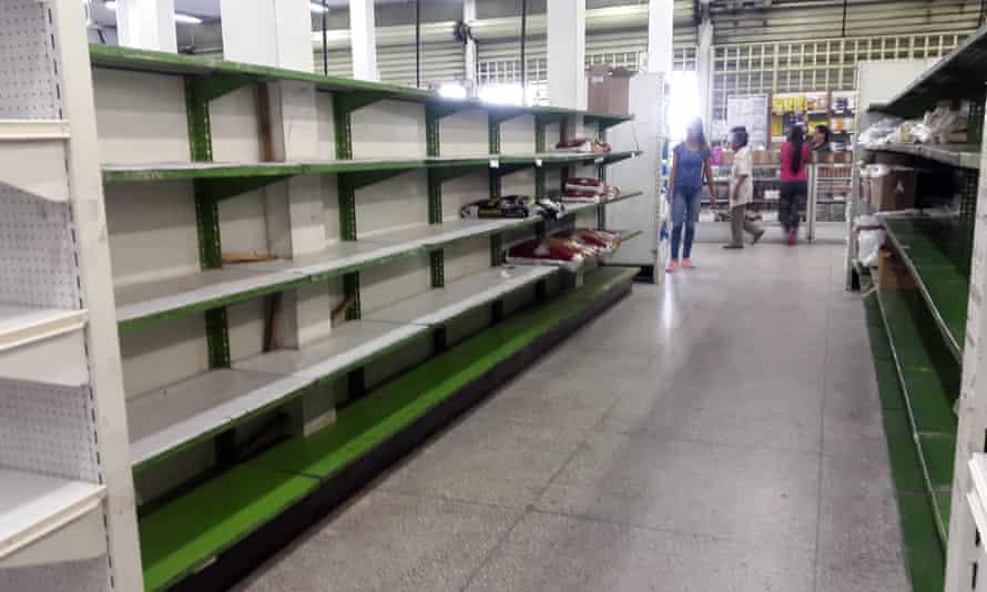 Empty shelves in a supermarket in Guacara, Venezuela