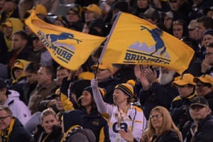 Brumbies fans during the round 12 Canberra Brumbies and Auckland Blues Rugby Union match at GIO Stadium.