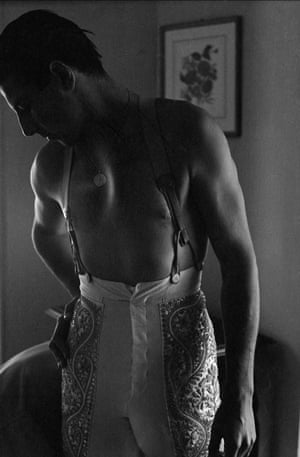 Torero Antonio Ordóñez dressing for combat, San Fermín, Pamplona, Spain, 1954