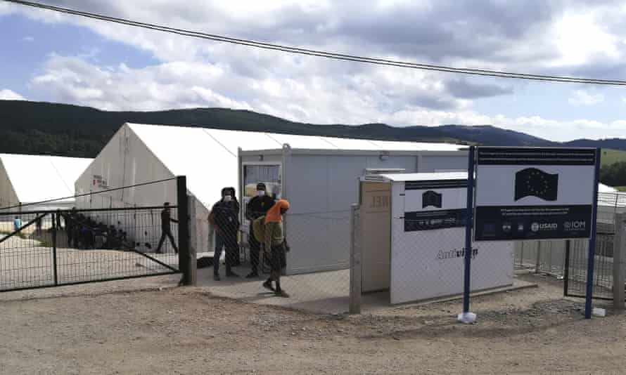 The Lipa refugee camp outside Bihac, north-western Bosnia, one of five camps the IOM runs in the Krajina region, and where migrants from the Bira camp have been taken.