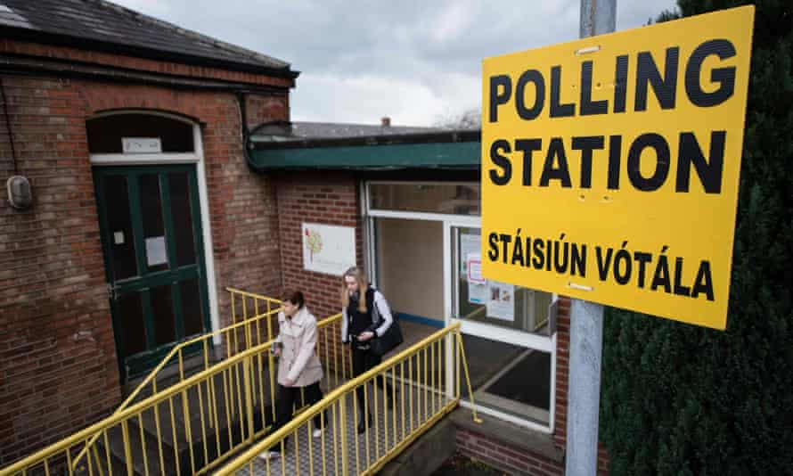 A sign indicating a polling station in Dublin, Ireland