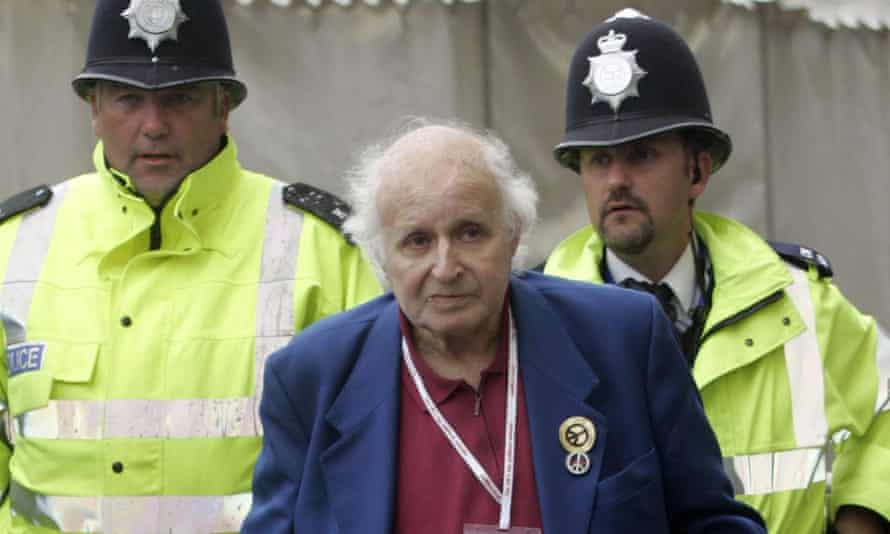 Walter Wolfgang is led away from the 2005 Labour party conference after heckling Jack Straw