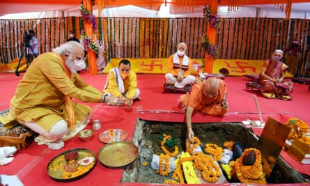 Narendra Modi at the foundation-laying ceremony for the Ram Mandir temple in Uttar Pradesh.