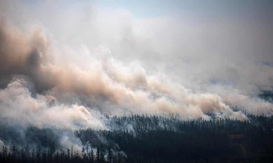 A wildfire in the village of Berdigestyakh in Siberia