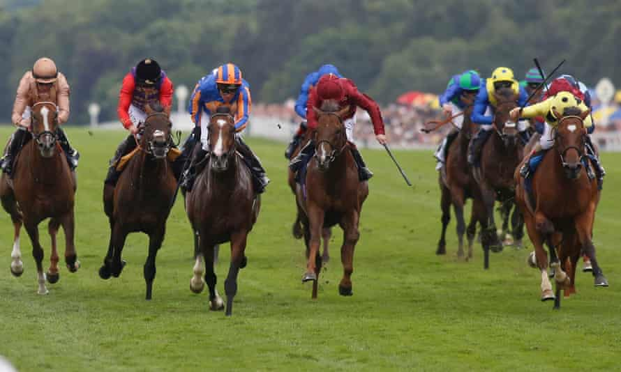 Idaho, third left, kicks clear in the Hardwicke Stakes at Royal Ascot after the favourite Dartmouth, second left, fades into fourth.
