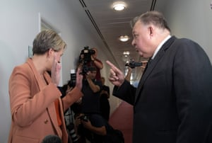 Tanya Plibersek and Craig Kelly have an impassioned discussion in the press gallery