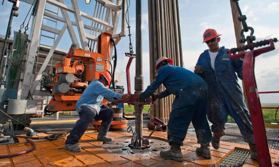 Drilling for shale oil in Texas. The price of WTI crude, the US benchmark, went below zero last week.