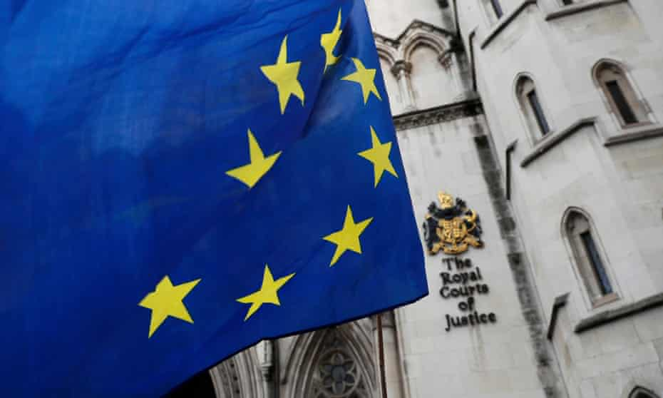 A European Union flag outside the high court in central London