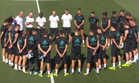 Real Madrid hold minute's silence for terror attack victims – video