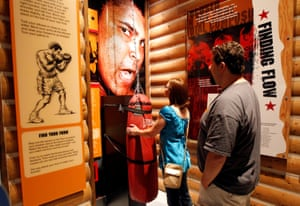 Boxing fans tour the Ali Center at City Hall in Louisville, Kentucky