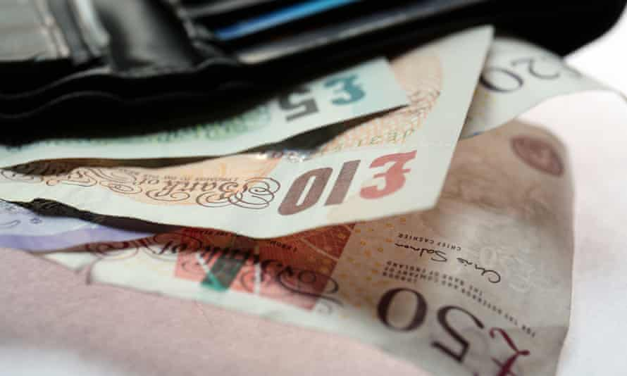 British pound notes in a wallet