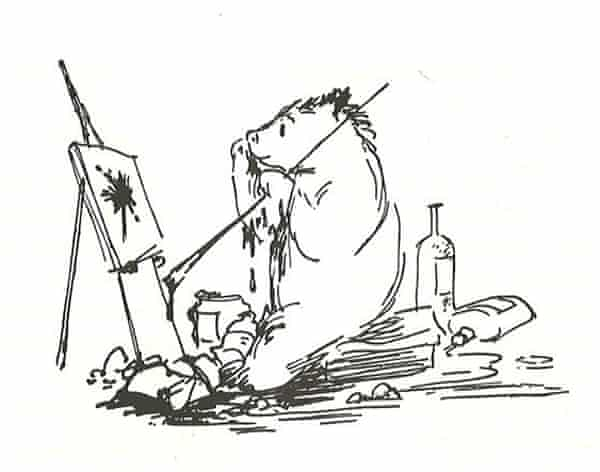 Line drawing of Paddington painting at easel