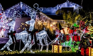 Homes display Christmas lights and decorations in the suburbs of Los Angeles.